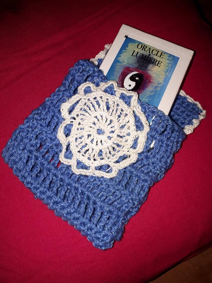 Pochette bleu - fleur coton beige
